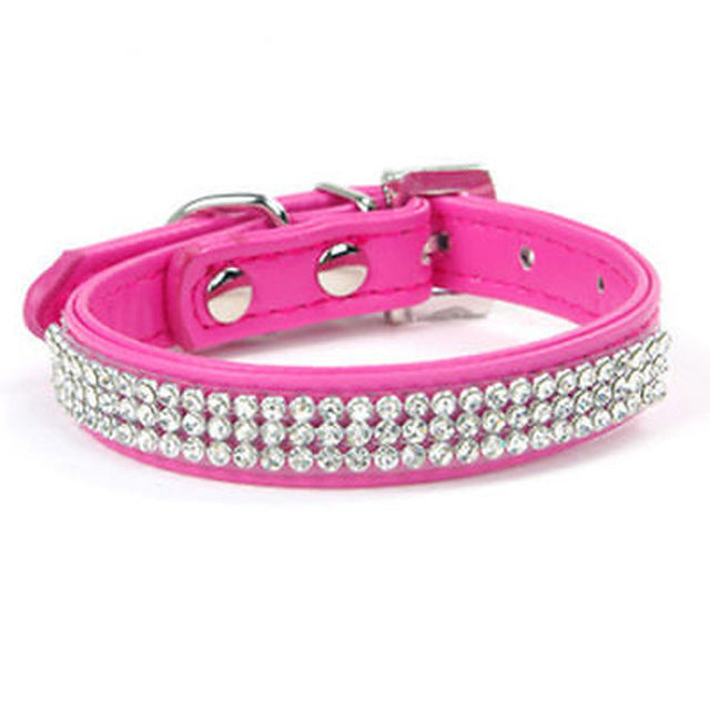 Rhinestone Leather Necklaces Dog Collar