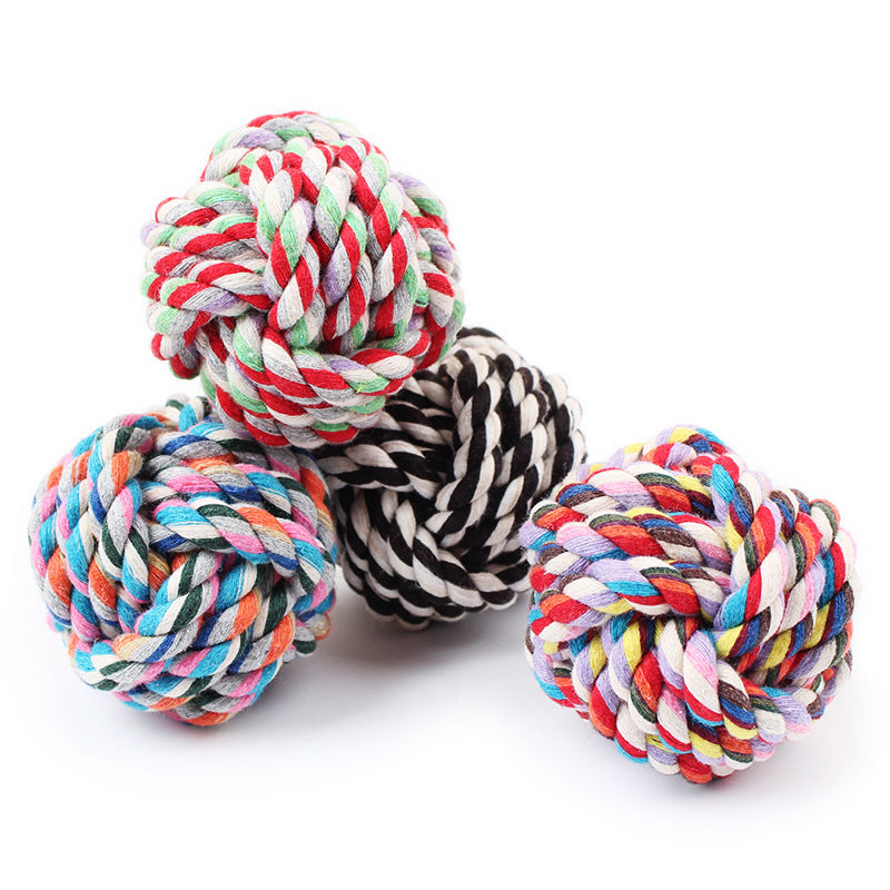 Colourful Cotton Braided Dog Ball Toy