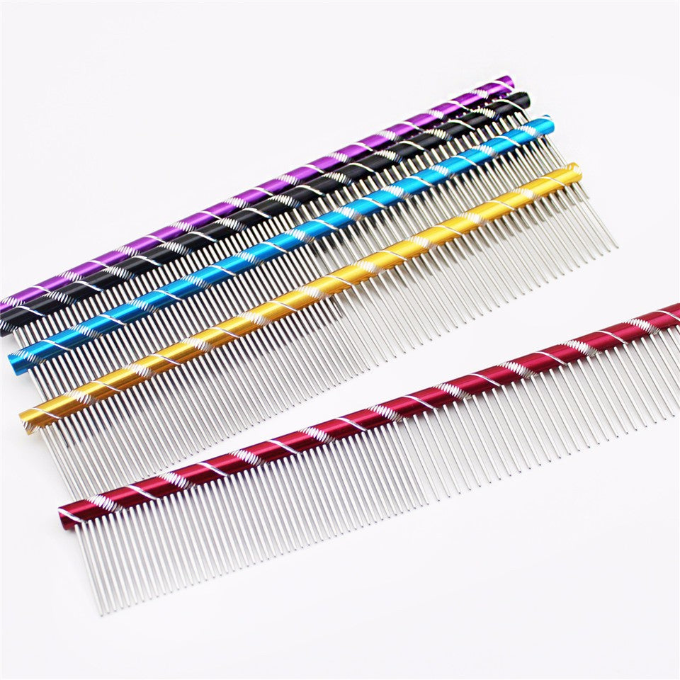 Bright Multi-Coloured Stripe Grooming Dog Comb