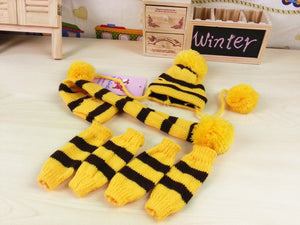 Knitted Puppy Dogs Striped Hats Scarf Socks
