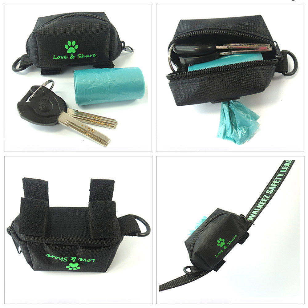 Travel Pet Waste Dog Poop Bag Holder With Hook Pouch