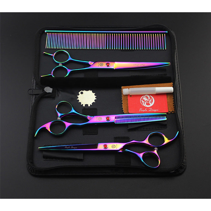 Rainbow Professional Pet/Dog Grooming Scissors With Comb