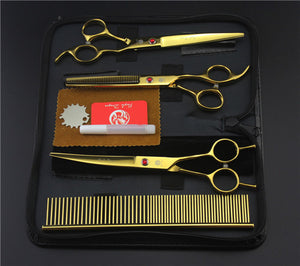 Gold Professional Pet/Dog Grooming Scissors With Comb