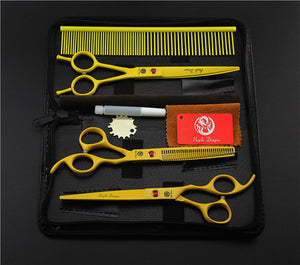 Yellow Professional Pet/Dog Grooming Scissors With Comb