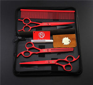 Red Professional Pet/Dog Grooming Scissors With Comb
