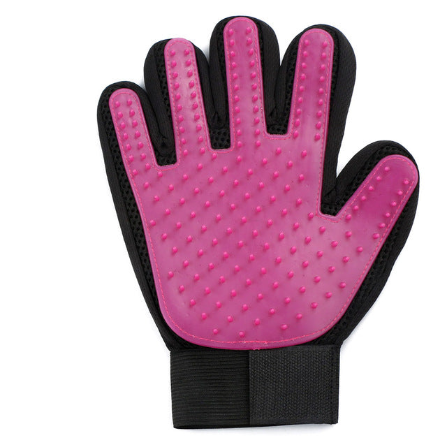 Pink Silicone Pet Grooming Cleaning Glove For Loose Dog Hair