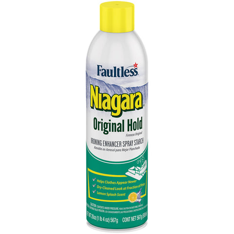 Faultless Niagara Original Hold Ironing Enhancer Spray Starch Lemon Splash Three 20 oz Cans