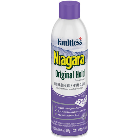 Faultless Niagara Original Hold Ironing Enhancer Spray Starch Mountain Lavender Three 20 oz Cans