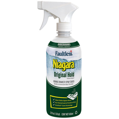 Faultless Niagara Non-Aerosol Original Hold Ironing Enhancer Spray Starch Three 22 oz Trigger Bottles