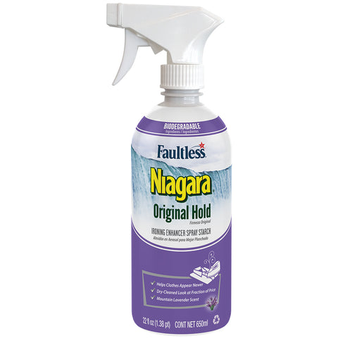 Faultless Niagara Non-Aerosol Original Hold Ironing Enhancer Spray Starch Mountain Lavender Twelve 22 oz Trigger Bottles