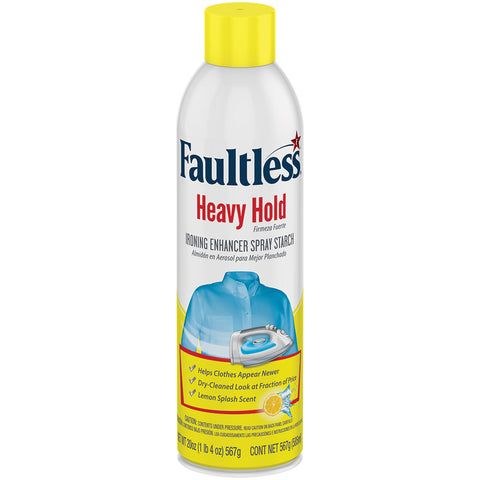 Faultless Heavy Hold Ironing Enhancer Spray Starch Lemon Splash Six 20 oz Cans