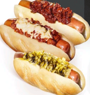 product shot of three of Den's Hot Dogs options