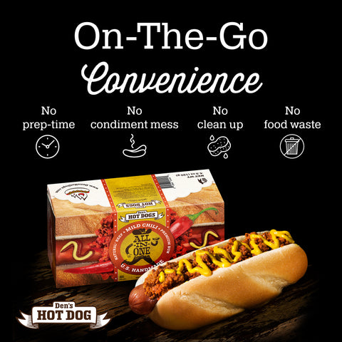 Den's Natural All-in-One Hot Dog w/Mild Chili (pack of 8)