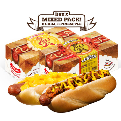 Den's Natural All-in-One Hot Dog w/Chili and w/Pineapple (16 total, mix of 8 each)