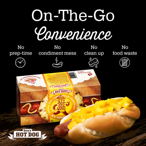 Den's Natural All-in-One Hot Dog w/Pineapple Chutney (pack of 8)