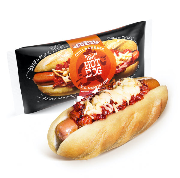 hot dog topped with chili