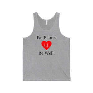"""Eat Plants Be Well"" Men's Jersey Tank, Grey"