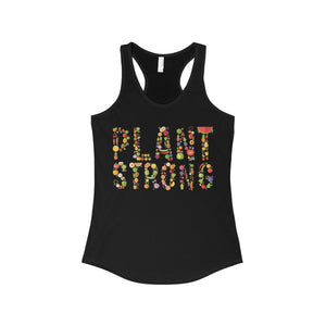 """Plant Strong"" Women's Ideal Racerback Tank, Black"