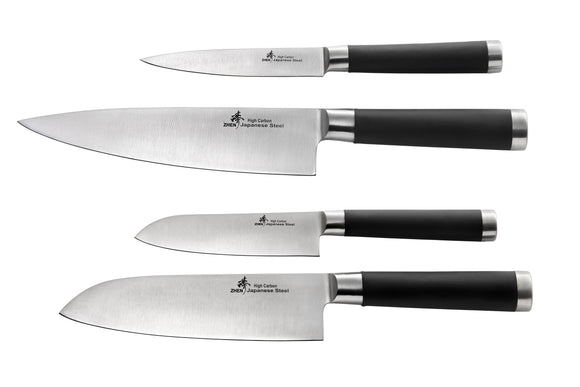 High Carbon Forged Stainless Steel Chef Knife Set and Santoku Knife 4pc Set
