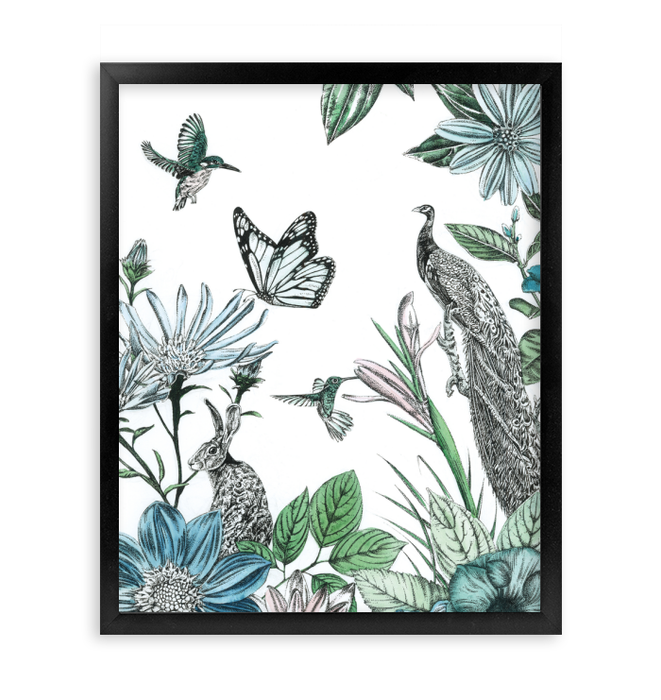 Peacock and Flowers Wall Art <br>(55534)<br> - New Depictions | Wall Art Prints