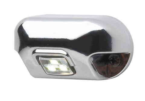 Whelen 0S Square Lens Series White Illumination Light with Clear Lens and 45° Angled Chrome-Plated Bezel, 0AC0EDCR