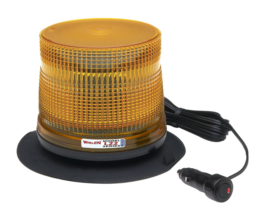 Whelen L22 Series Super-LED® Low Dome Beacon with Magnetic/Suction Cup Base, Amber- L22LAV