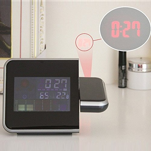 Projection Alarm Clock with 3.7â Digital Weather Black LED, Auto Time Set, Dual Alarm, Nap/Sleep Timer, Temperature/Day/Date Display with Dimming(Black): Home Audio & Theater