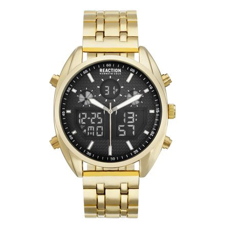 Kenneth Cole Reaction Black Dial Gold Tone Bracelet Watch