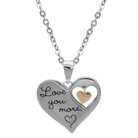 "Stainless Steel ""I Love You More"" Dangle Heart Pendant, 18"""