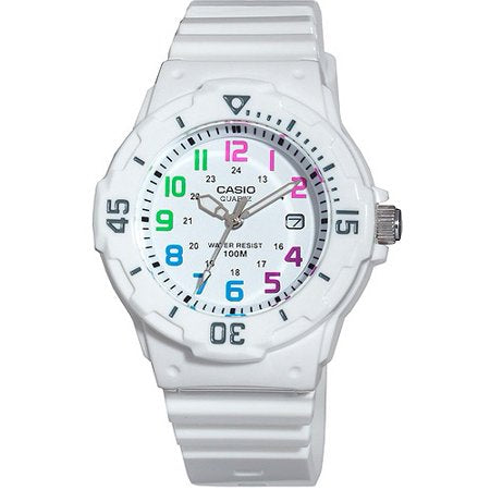 Casio Diver White Resin Strap and Multi-Colored Numerals Watch