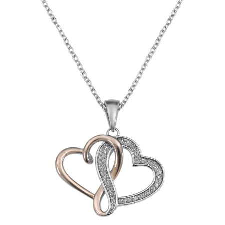 HEARTS Stainless Steel Interlocking Hearts Pendant, 18""