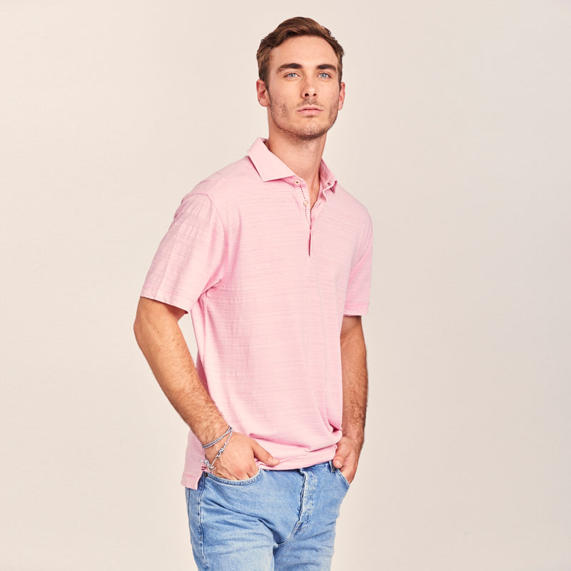 TADD by Thaddeus HAL Short Sleeve Slub Cotton Polo Shirt
