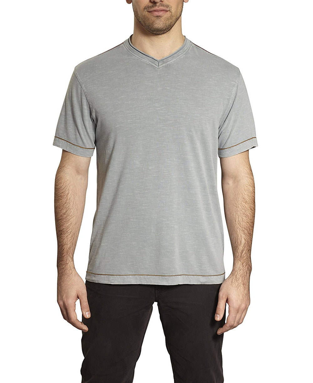 TADD by Thaddeus CAL Short Sleeve V-Neck Solid T-Shirt