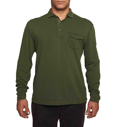TADD by Thaddeus Men's EDDIE Long Sleeve Pique Polo With Pocket