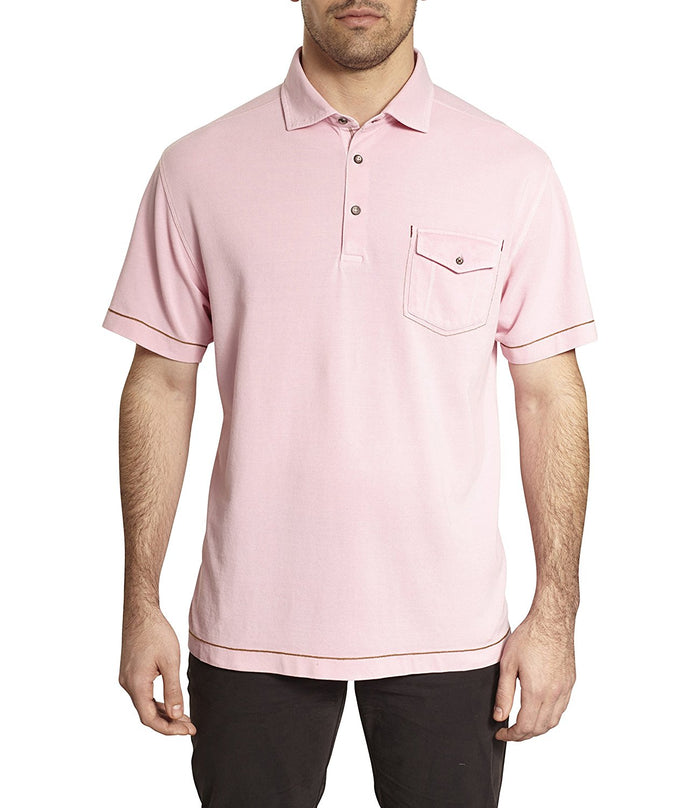 TADD by Thaddeus ESTES Short Sleeve Pique Polo Shirt With Chest Pocket