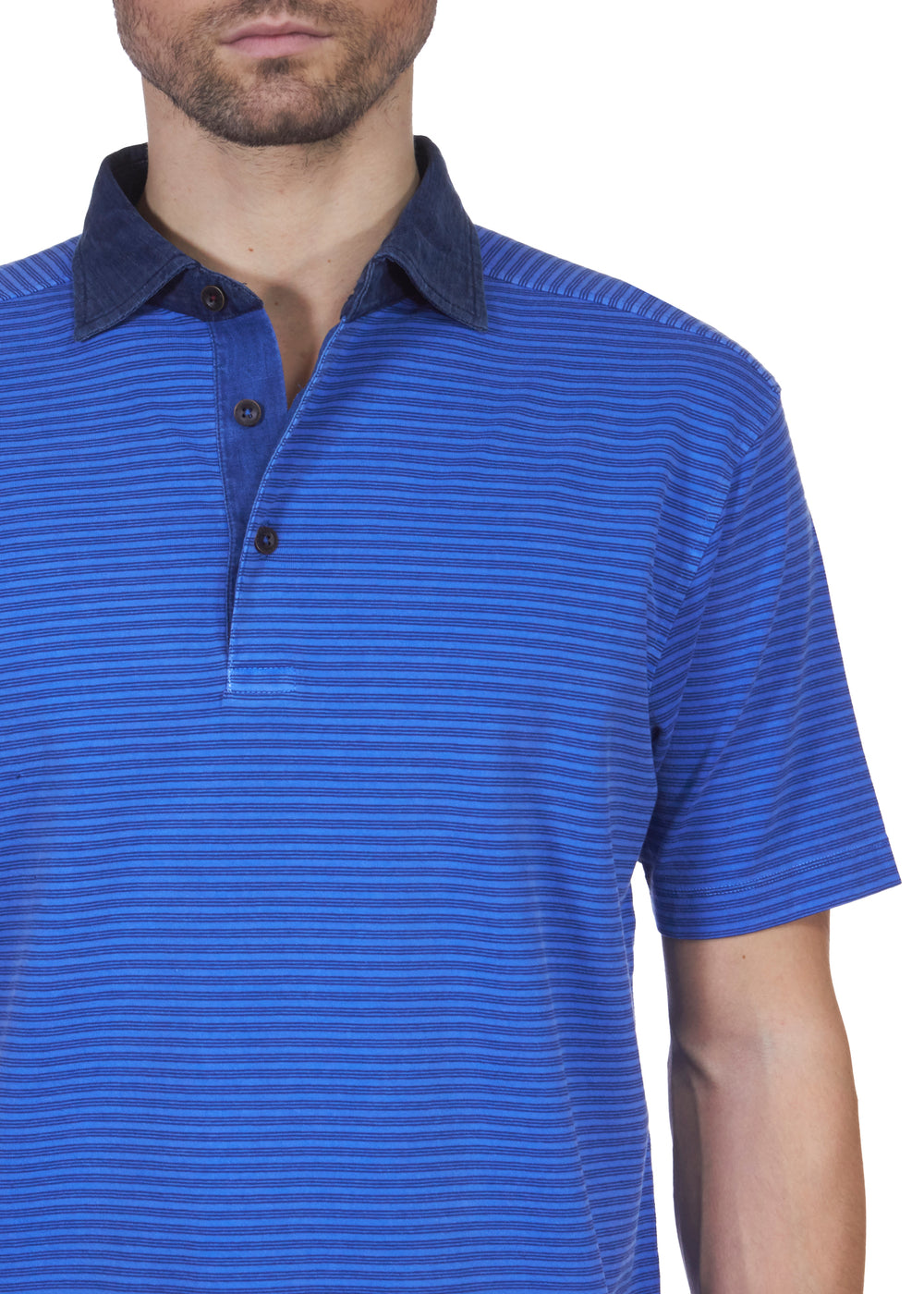 Thaddeus IVAN Striped Stretch Cotton Jersey Polo