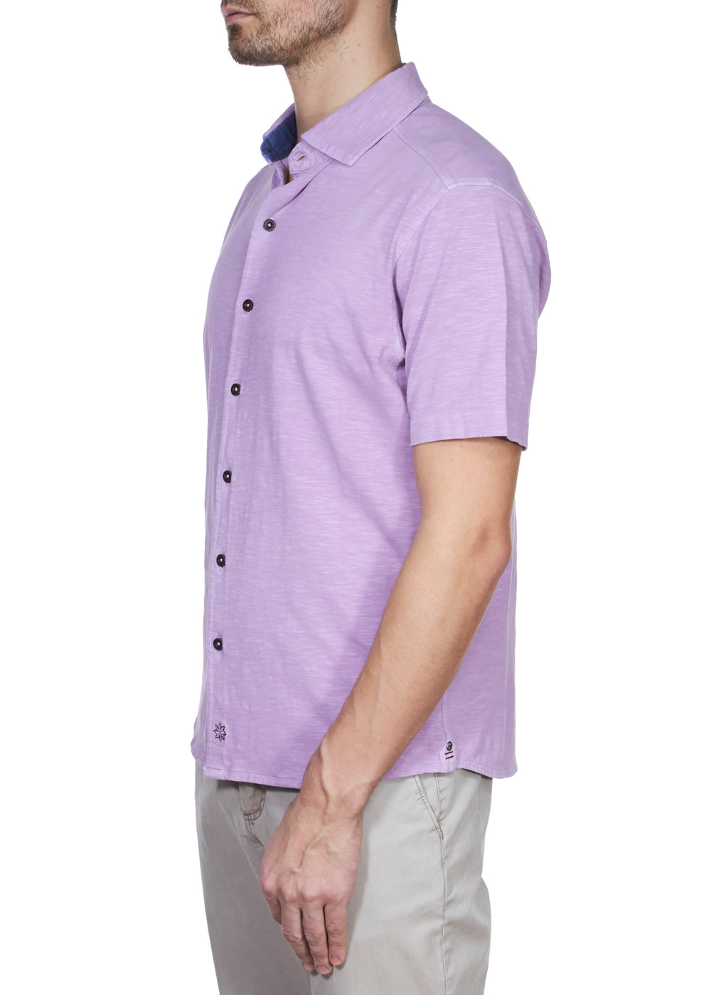 Thaddeus McADAMS Short Sleeve Solid Button-Up