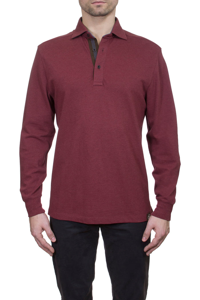 Thaddeus PERRY Long Sleeve Heather Pique Polo