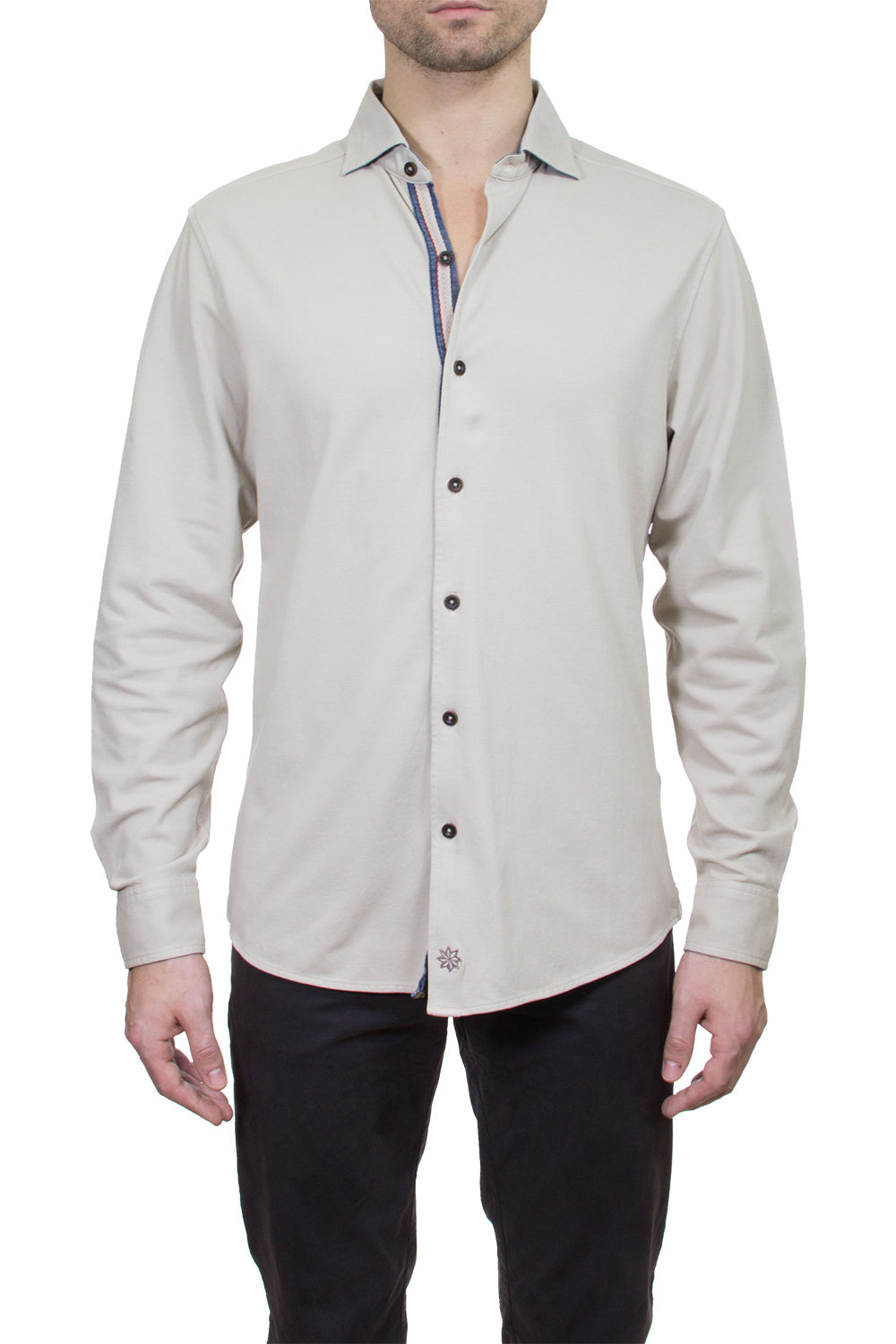 Thaddeus SHIVELY Long Sleeve Pique Button-Up Knit Shirt