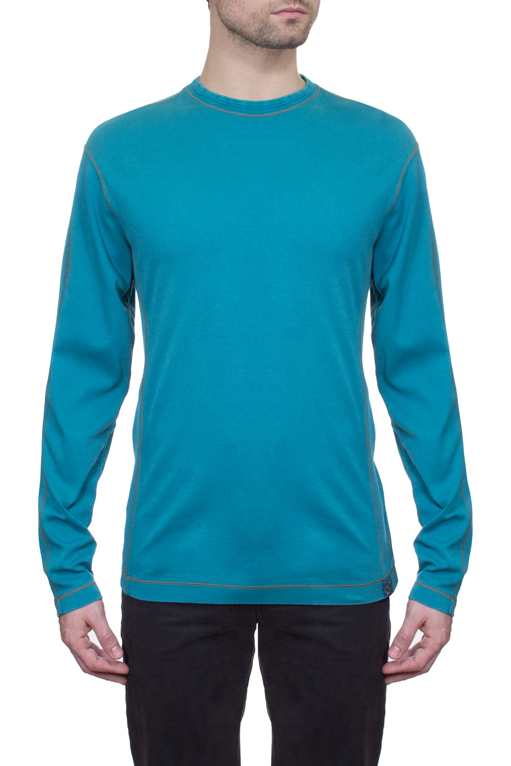 Thaddeus KENYON Long Sleeve Mixed Media Crew Neck
