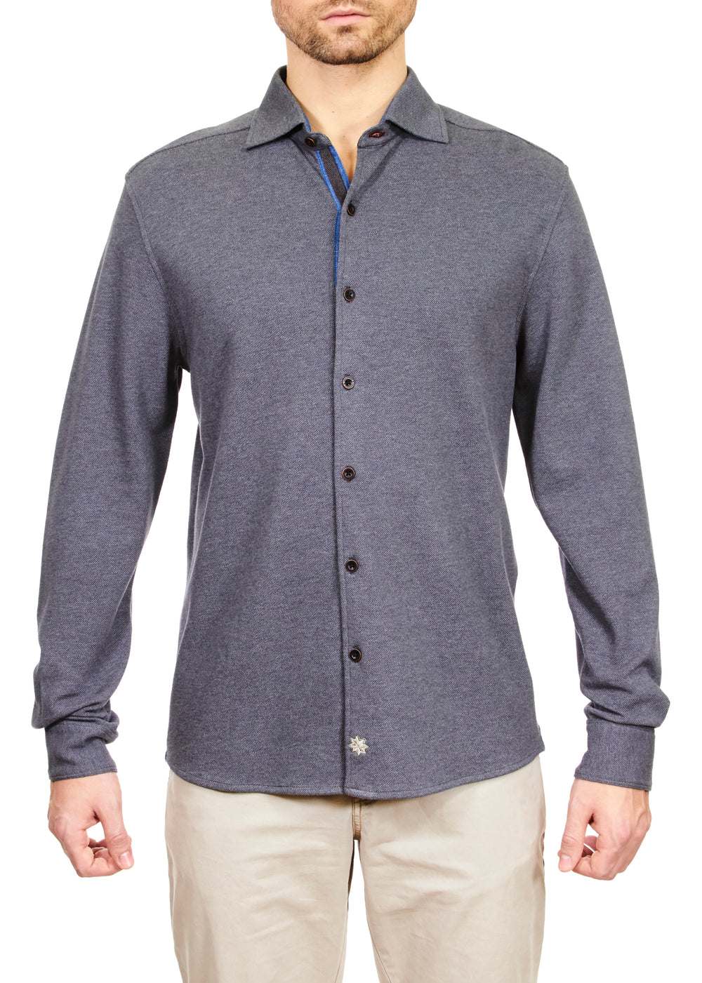 Thaddeus SHANDY Long Sleeve Heather Pique Coat Front Knit Shirt