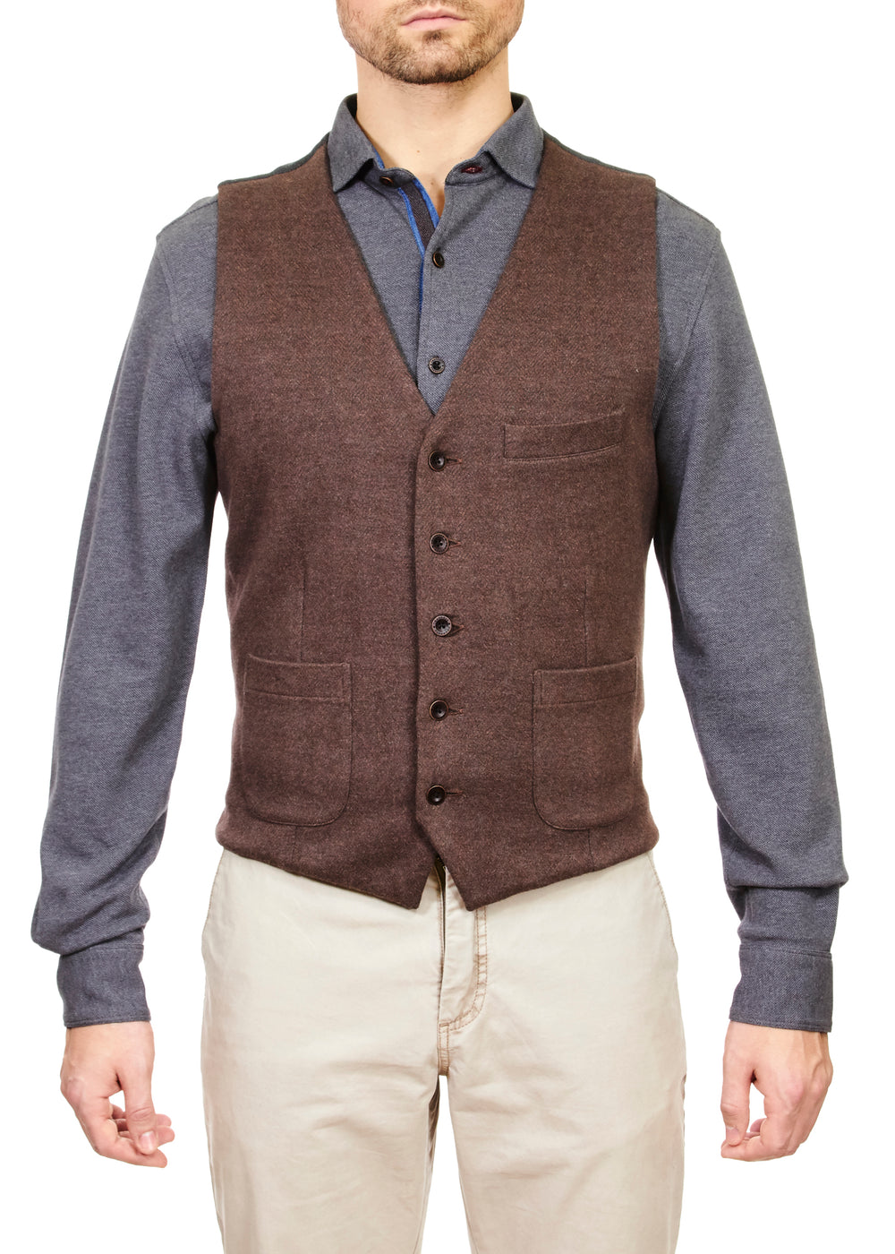 Thaddeus WEST Cotton Herringbone Jacquard Button Vest