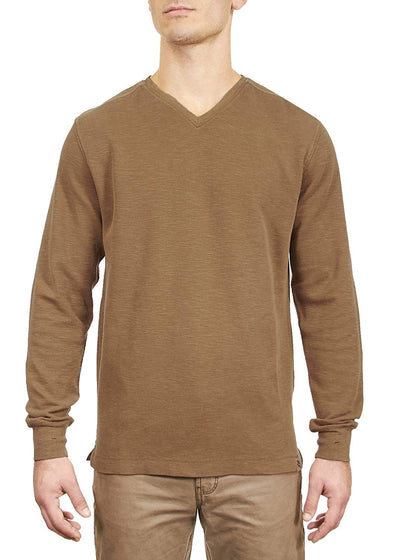 Thaddeus ANTON Mens LS 100% Cotton Slub V Neck