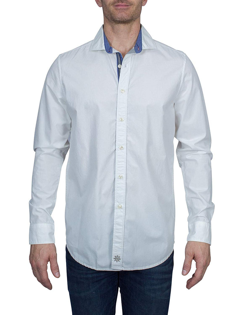 Thaddeus BORIS Men's Pure Cotton Poplin Long Sleeve Button up Shirt