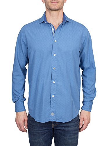 Thaddeus DANTE Men's Cotton Long Sleeve Shirt with Geometric Weave