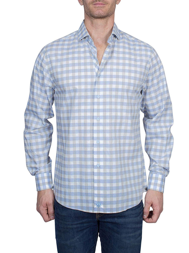 Thaddeus FRANK Men's Gingham Check Long Sleeve French Button Down Cotton Shirt With Cutaway Collar, Blue/Tan