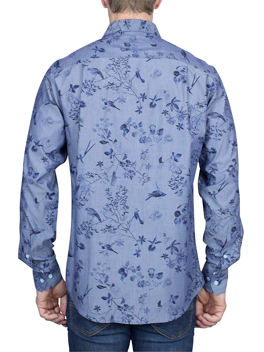 Thaddeus FRANK Men's Meadow Print Long Sleeve French Button Down Cotton Shirt with Cutaway Collar, Blues