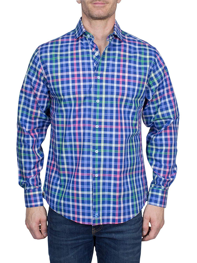 Thaddeus FRANK Men's Plaid Long Sleeve French Button Down Cotton Shirt with Cutaway Collar, Bright Blues