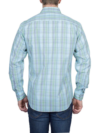 Thaddeus FRANK Men's Plaid Long Sleeve French Button Down Cotton Shirt with Cutaway Collar, Sky Blue/Green