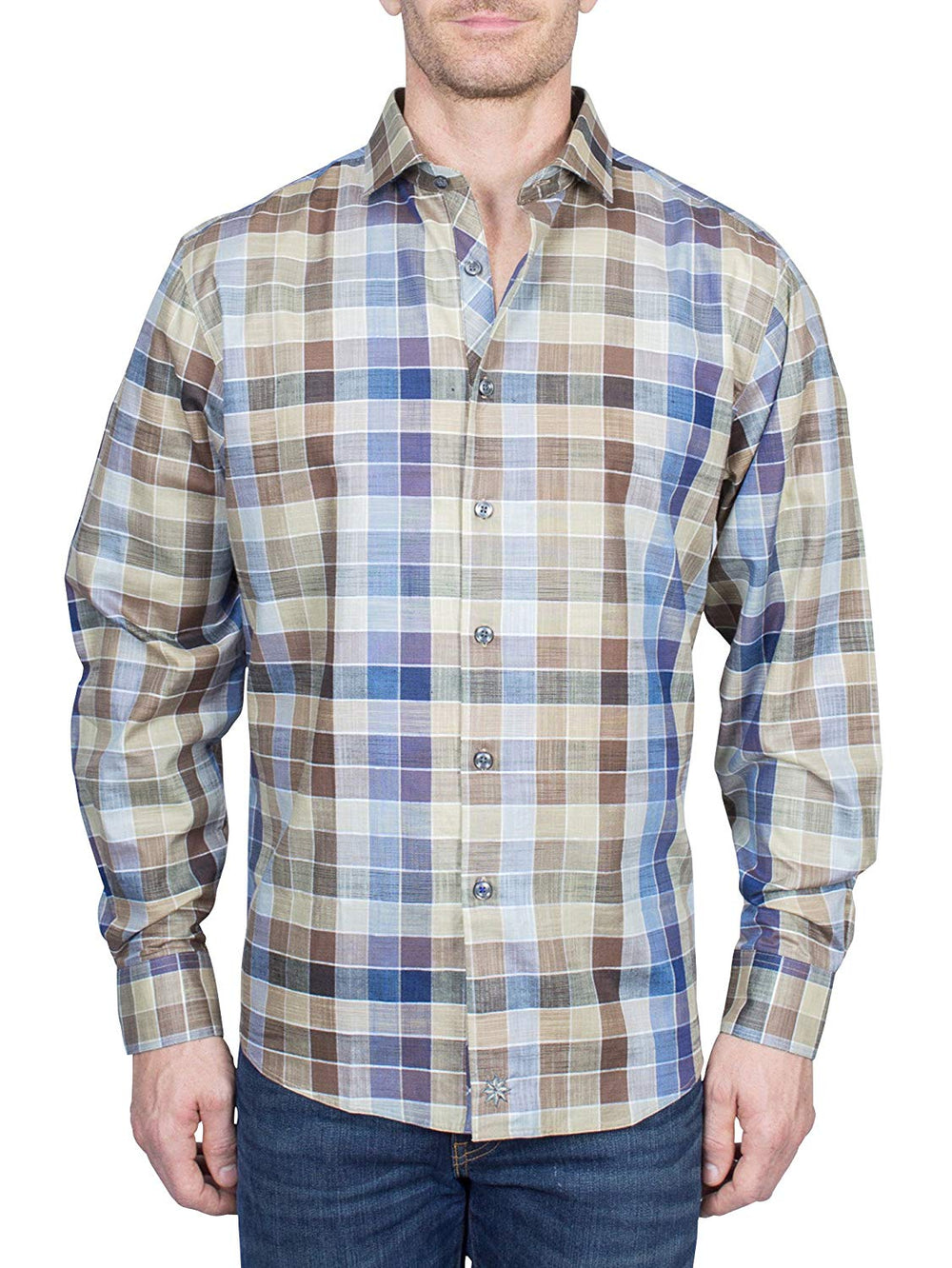 Thaddeus FRANKLIN Mens Long Sleeve Plaid Cotton Linen Blend Button Down Shirt, Blues and Taupe